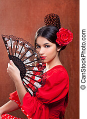 Gypsy flamenco dancer Spain girl with red rose