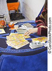 Gypsy fortune teller, predicting the future with cards