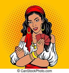 Gypsy girl fortune teller pop art style vector