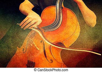 Gypsy Jazz Variations - Surreal digital art with a musician...