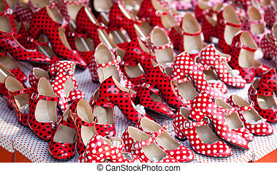 gypsy red shoes with polka dot spots in shop market