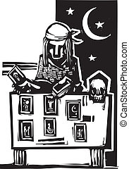 Gypsy Tarot Reading Simple - Woodcut style image of a gypsy ...