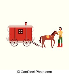 Gypsy vardo trotting wagon with brown horse and groom