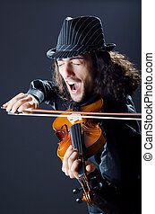 Gypsy violin player in studio