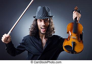 Gypsy violin player in studio