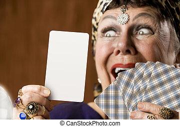 Gypsy with blank tarot card