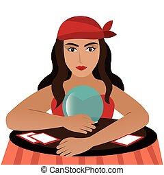 Gypsy with crystal ball