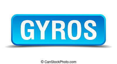 Gyros blue 3d realistic square isolated button
