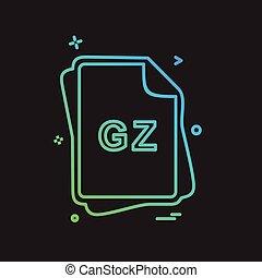 gz, bestand, type, pictogram, ontwerp, vector