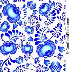 Gzhel style.Vector element  Russian pattern