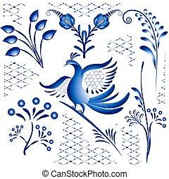 gzhel, tło., elementy, projektować, odizolowany, gałązki, ptaszki, etniczny, style., biały, komplet, kwiaty, błękitny