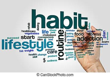 hábito, palabra, nube