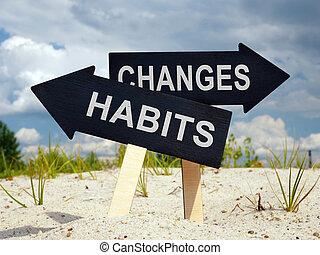 hábitos, viejo, negro, dos, cambios, arrows., ahead.