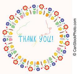 hálát ad, keret, köszönés, virágos, ön, kártya