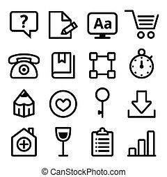 háló, állhatatos, ikonok, étrend, egyenes, navigáció