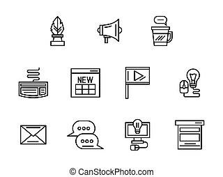 háló, állhatatos, ikonok, blog, vektor, fekete, egyenes