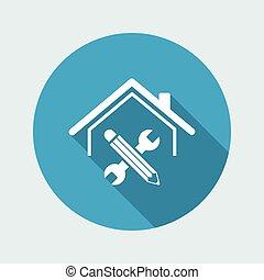 háló, épület, -, vektor, helyreállítás, ikon