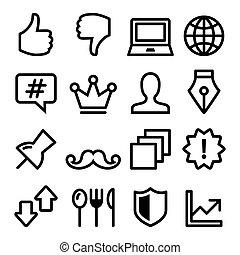 háló, egyenes, navigáció, étrend, ikonok