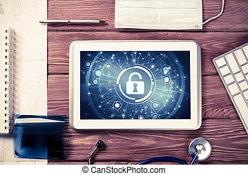 háló, fogalom, tabletta, fából való, számítógép, akasztó, biztonság, technológia