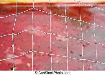 háló, gól, labdarúgás, eső, külső, stadion, fehér, futball