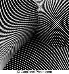 háló, háromszög, backdrop., illúzió, elvont, ábra, elferdítés, háttér., tervezés, monochrom, geometriai, vector-art, csíkos, texture., mozgalom