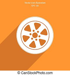 háló, icon., vektor, kerék