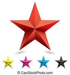 háló, ikon, csillag alakzat