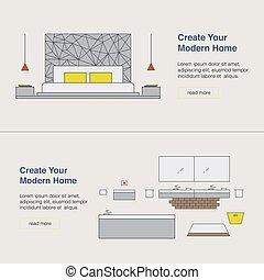 háló, illustration., banner., concept., modern, tervezés, sablon, belső, otthon, apródok