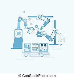 háló, ipari, gyűlés, iparág, automatizálás, termelés, ...