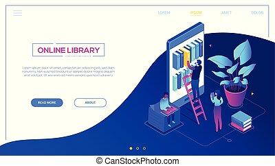 háló, isometric, színes, modern, -, könyvtár, vektor, online, transzparens