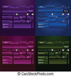 háló, média, button., ele, játékos, vektor