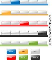 háló, mód, állhatatos, tabs, editable, modern, víz, 2.0., különböző, minta, vektor, befest, navigáció, menu.