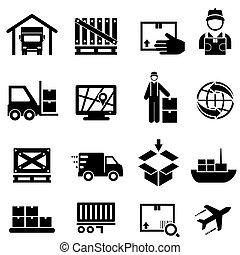 háló, rakomány, ikonok, felszabadítás, hajózás, raktárépület