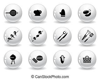háló, roston sütés, gombok, ikonok