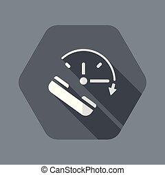 háló, szilárd, eltart, -, telefon, vektor, ikon