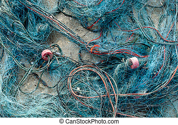 háló, tengerpart., öreg, halászat