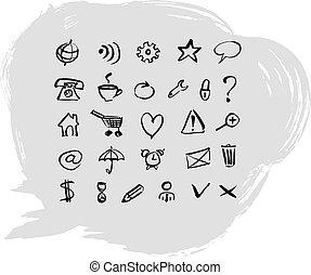 háló, vektor, állhatatos, icons., ábra