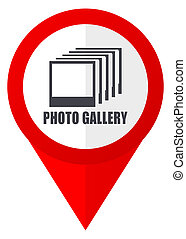 háló, webdesign, fénykép gombolódik, erkély, háttér., fehér, mutató, icon., piros