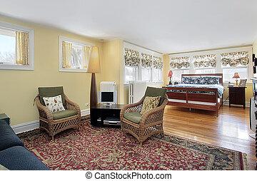 hálószoba, ülés, fiatalúr, terület