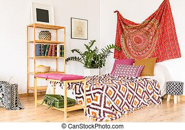 hálószoba, alatt, meleg, szín