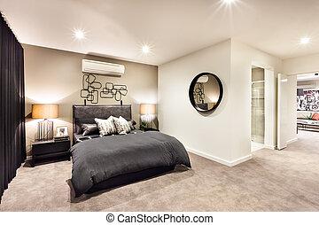 hálószoba, bejárat,  modern, Kerek, Tükör