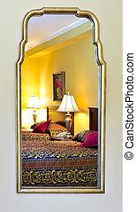 hálószoba, belső, kifejez in, tükör