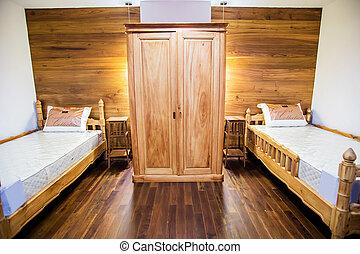 hálószoba, belső, noha, fehér, ágynemű, és, keményfa padló