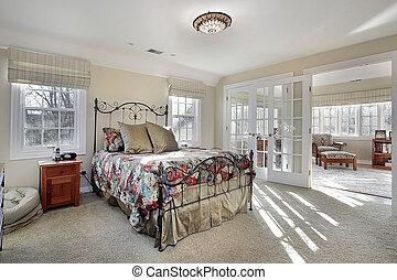 hálószoba, fiatalúr, szoba, ülés