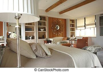 hálószoba, kényelmes, gyönyörű