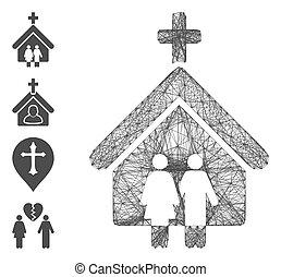 hálózat, behálóz, templom, család, vektor