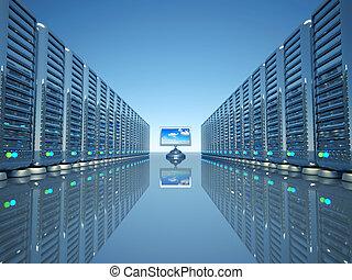 hálózat, computer server