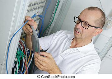 hálózat, ember, server hely