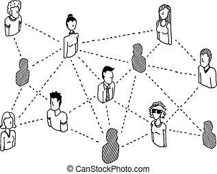 hálózat, emberek, /, connecting, összeköttetés, társadalmi