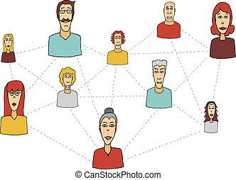 hálózat, emberek, /, connecting, társadalmi, karikatúra